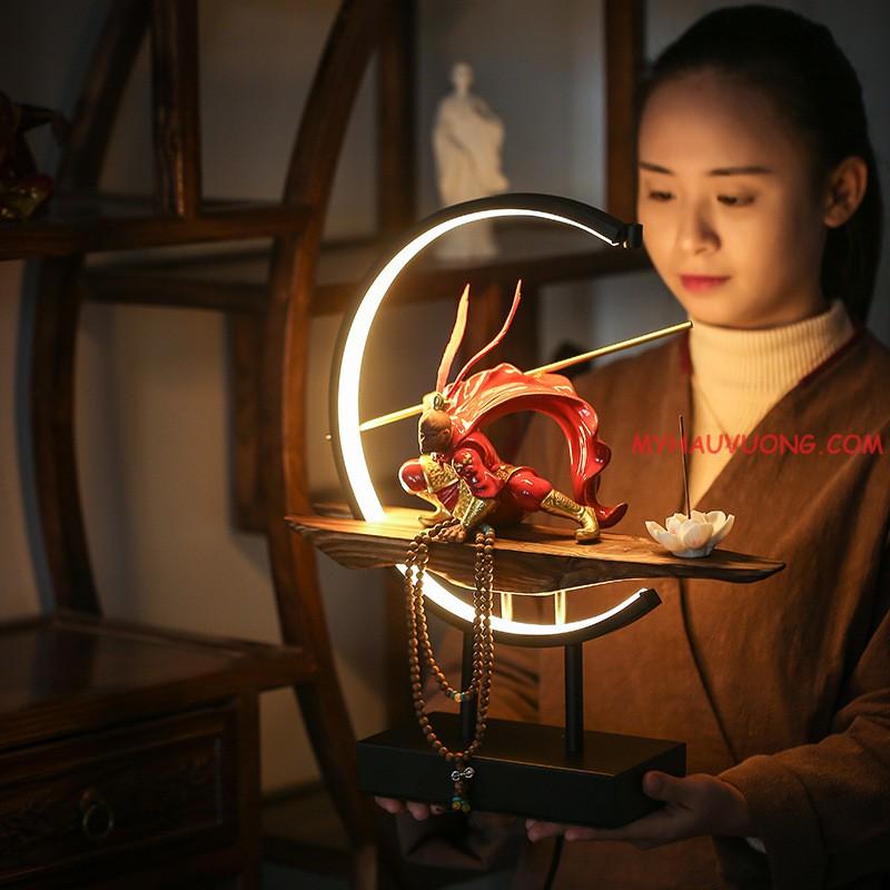Thác khói trầm hương đèn led tượng tôn ngộ không – tề thiên đại thánh cao cấp 2021